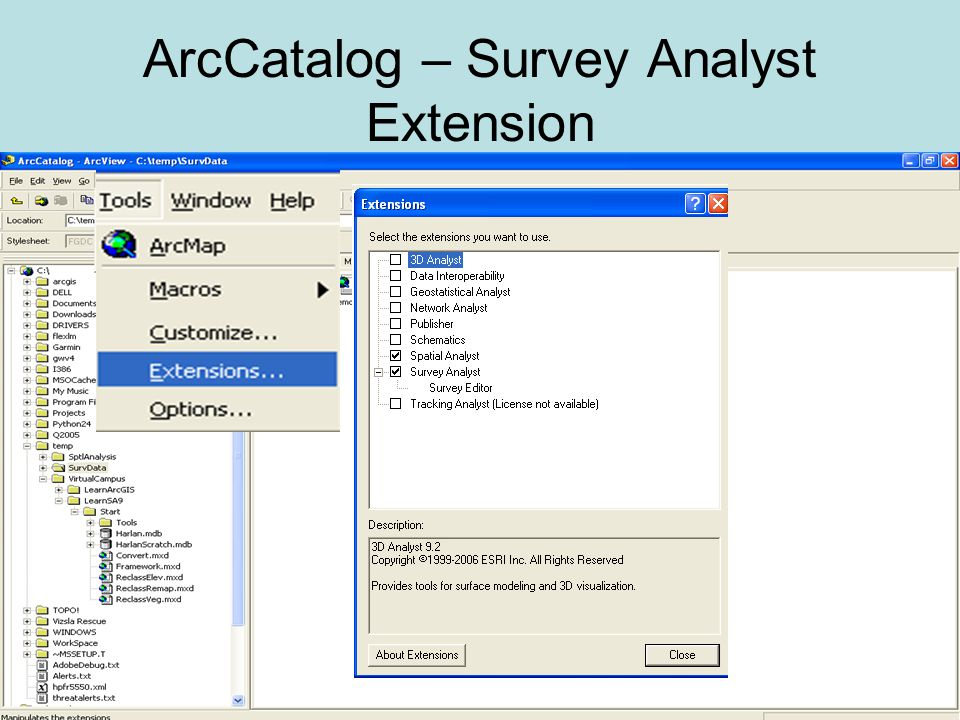 ArcCatalog – Survey Analyst Extension