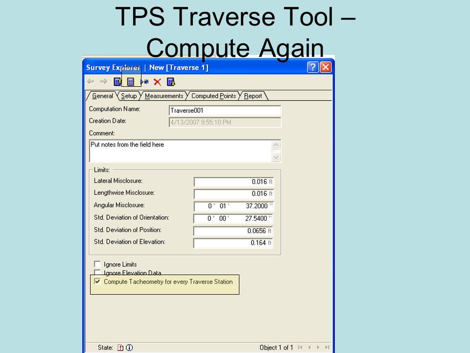 TPS Traverse Tool – Compute Again