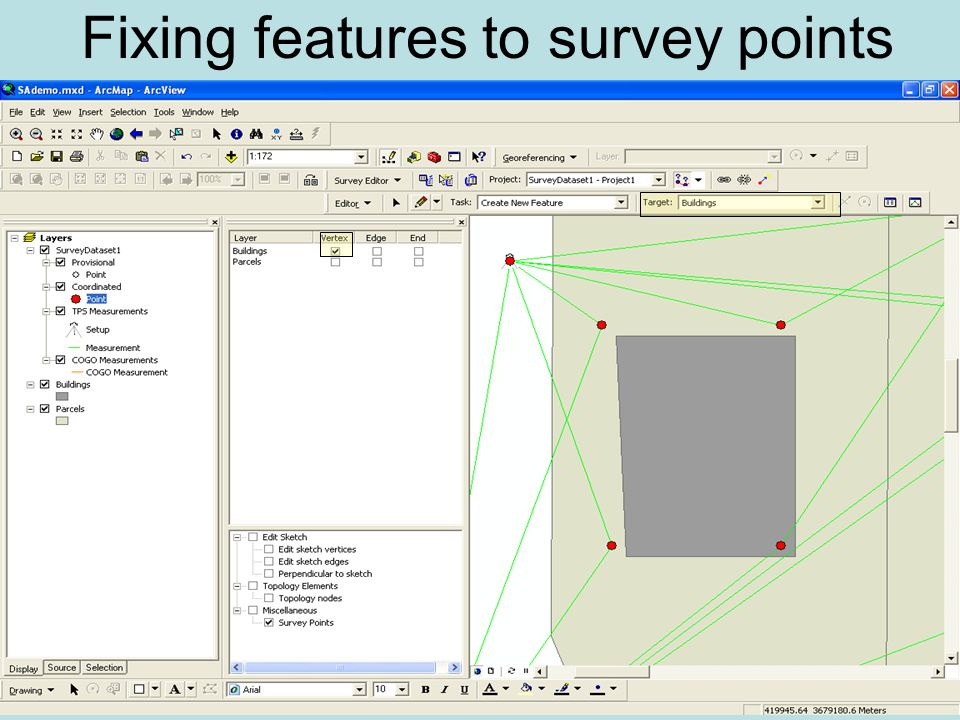 Fixing features to survey points