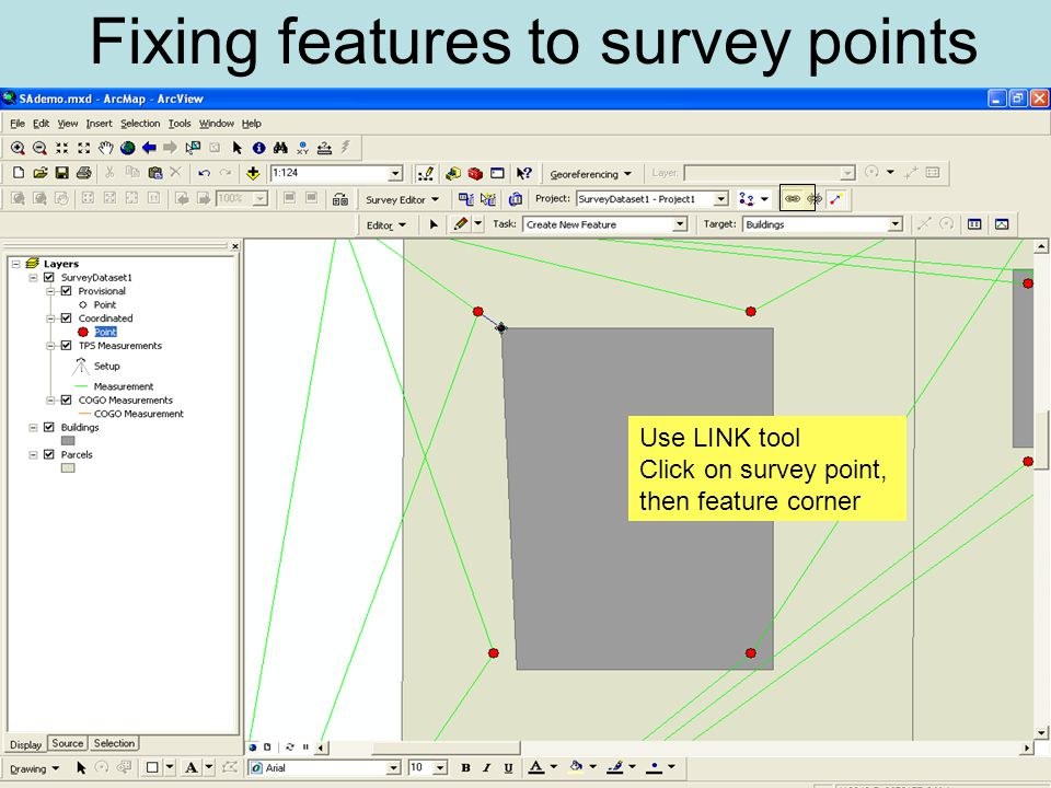 Use LINK tool Click on survey point, then feature corner