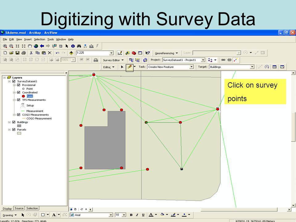 Digitizing with Survey Data Click on survey points