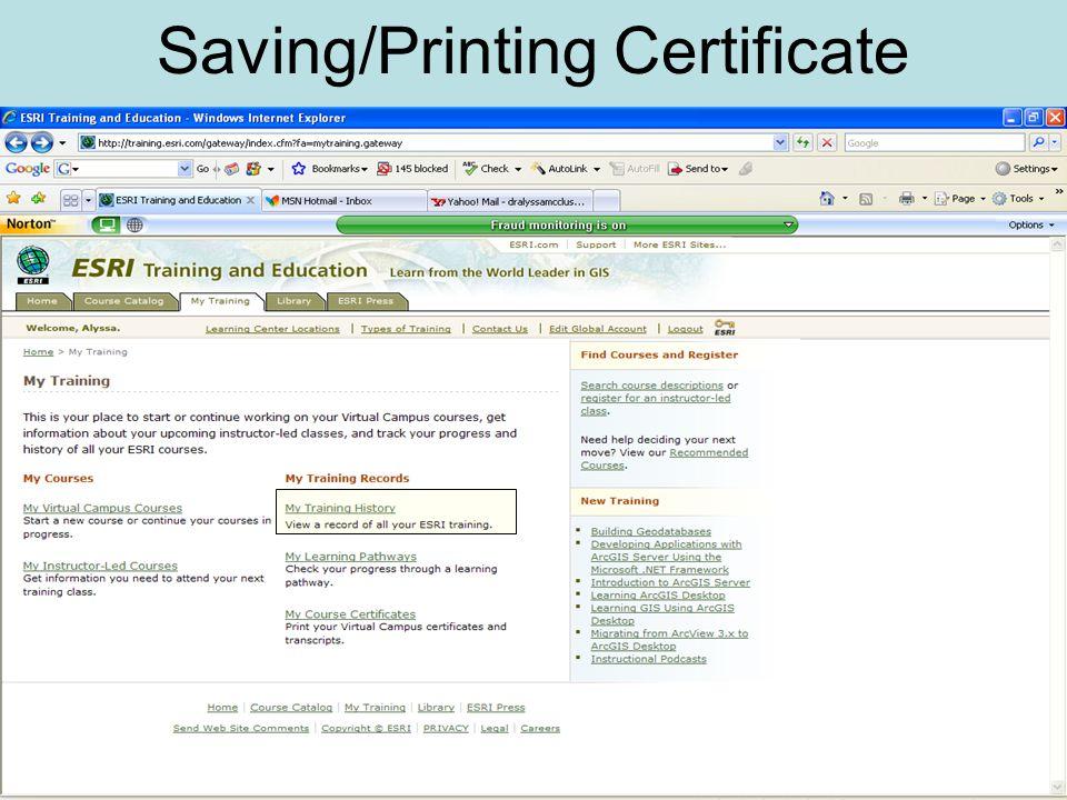 Saving/Printing Certificate