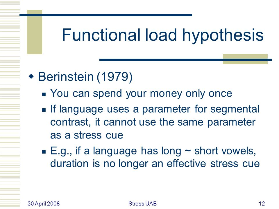 30 April 2008 Stress UAB12 Functional load hypothesis  Berinstein (1979) You can spend your money only once If language uses a parameter for segmental contrast, it cannot use the same parameter as a stress cue E.g., if a language has long ~ short vowels, duration is no longer an effective stress cue