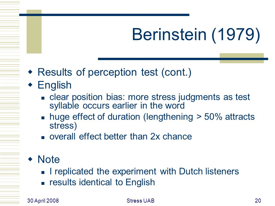 30 April 2008 Stress UAB20 Berinstein (1979)  Results of perception test (cont.)  English clear position bias: more stress judgments as test syllable occurs earlier in the word huge effect of duration (lengthening > 50% attracts stress) overall effect better than 2x chance  Note I replicated the experiment with Dutch listeners results identical to English