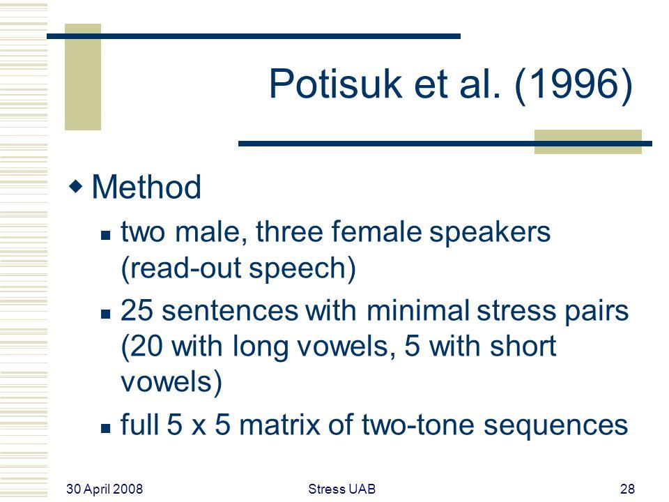 30 April 2008 Stress UAB28 Potisuk et al.
