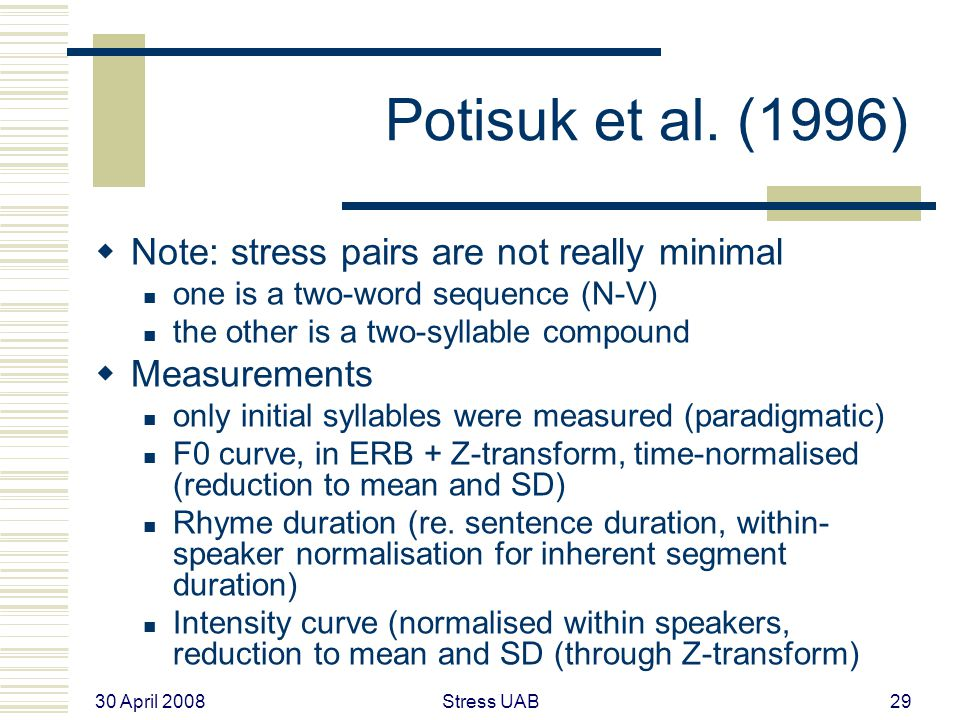 30 April 2008 Stress UAB29 Potisuk et al.