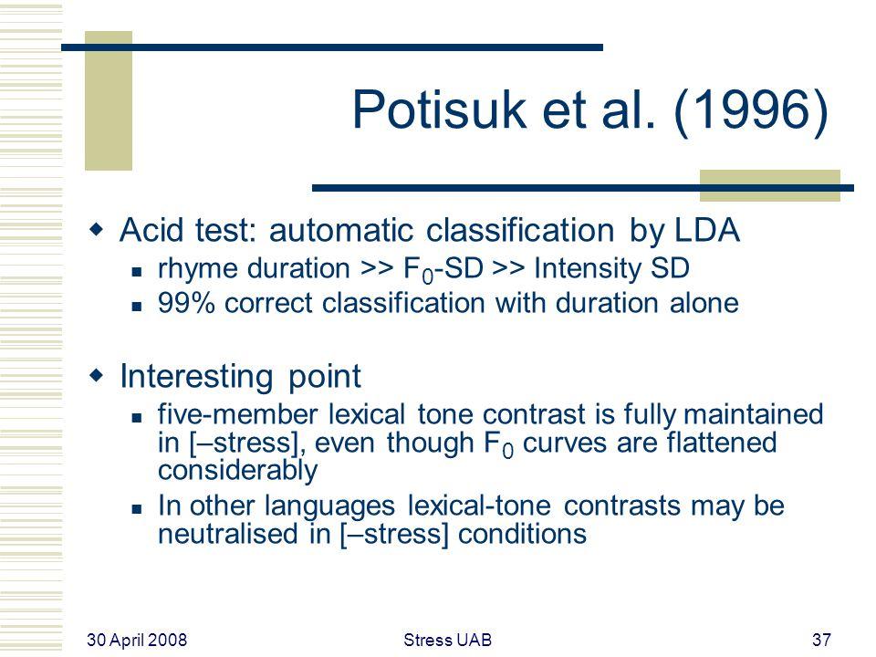 30 April 2008 Stress UAB37 Potisuk et al.