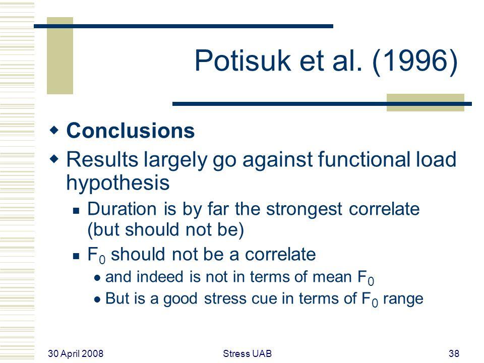 30 April 2008 Stress UAB38 Potisuk et al.