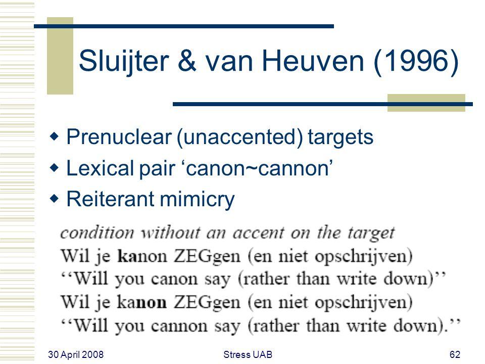 30 April 2008 Stress UAB62 Sluijter & van Heuven (1996)  Prenuclear (unaccented) targets  Lexical pair 'canon~cannon'  Reiterant mimicry