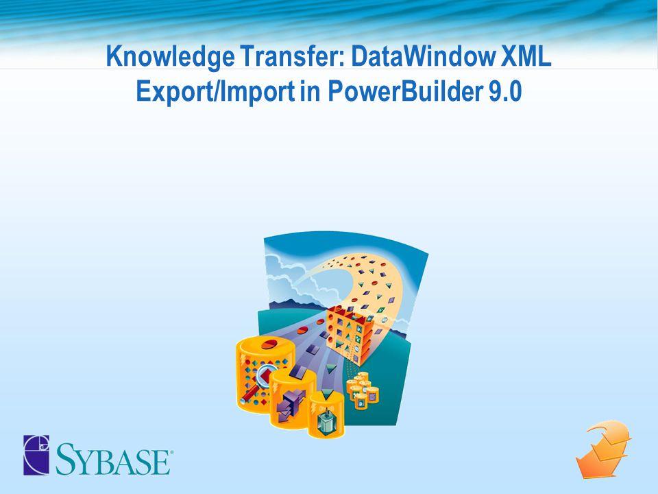 Knowledge Transfer: DataWindow XML Export/Import in PowerBuilder 9.0
