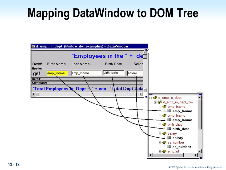 13 - 12 ©2000 Sybase, Inc. and its subsidiaries. All rights reserved. Mapping DataWindow to DOM Tree