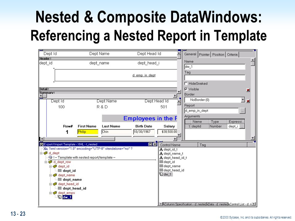 13 - 23 ©2000 Sybase, Inc. and its subsidiaries. All rights reserved. Nested & Composite DataWindows: Referencing a Nested Report in Template
