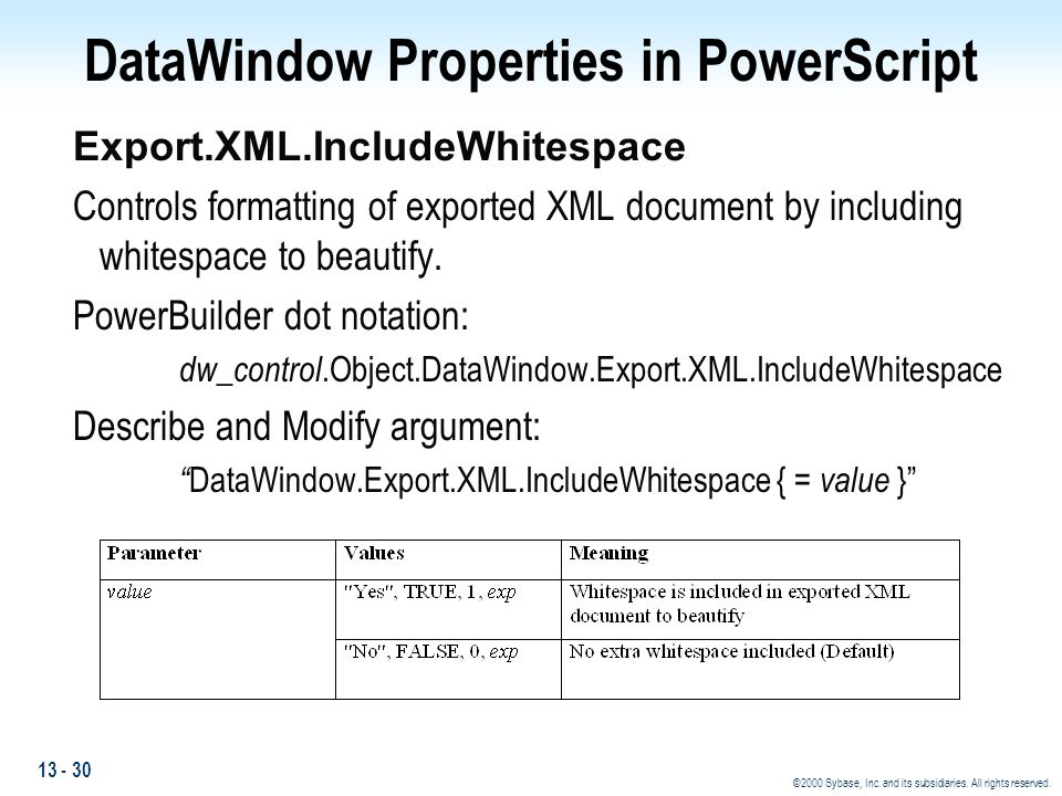 13 - 30 ©2000 Sybase, Inc. and its subsidiaries. All rights reserved. DataWindow Properties in PowerScript Export.XML.IncludeWhitespace Controls forma