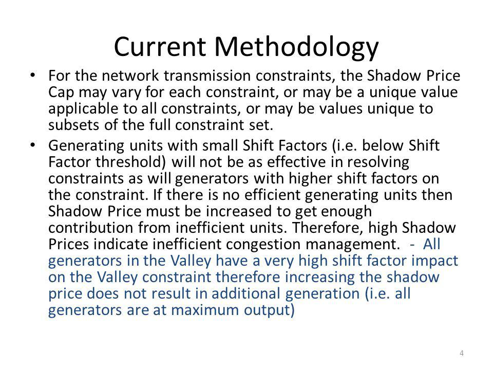 Valley Import Constraint Range of SFs – -0.95 to -0.97 in valley area – 0.03 to 0.045 outside valley area Not a competitive constraint and hence the Resources are moved based on offers capped by higher of Reference LMP & Mitigated Offer Cap curve Base Case constraint are assigned the system- wide value of $5,000 per MWh for the Max Shadow Price 5