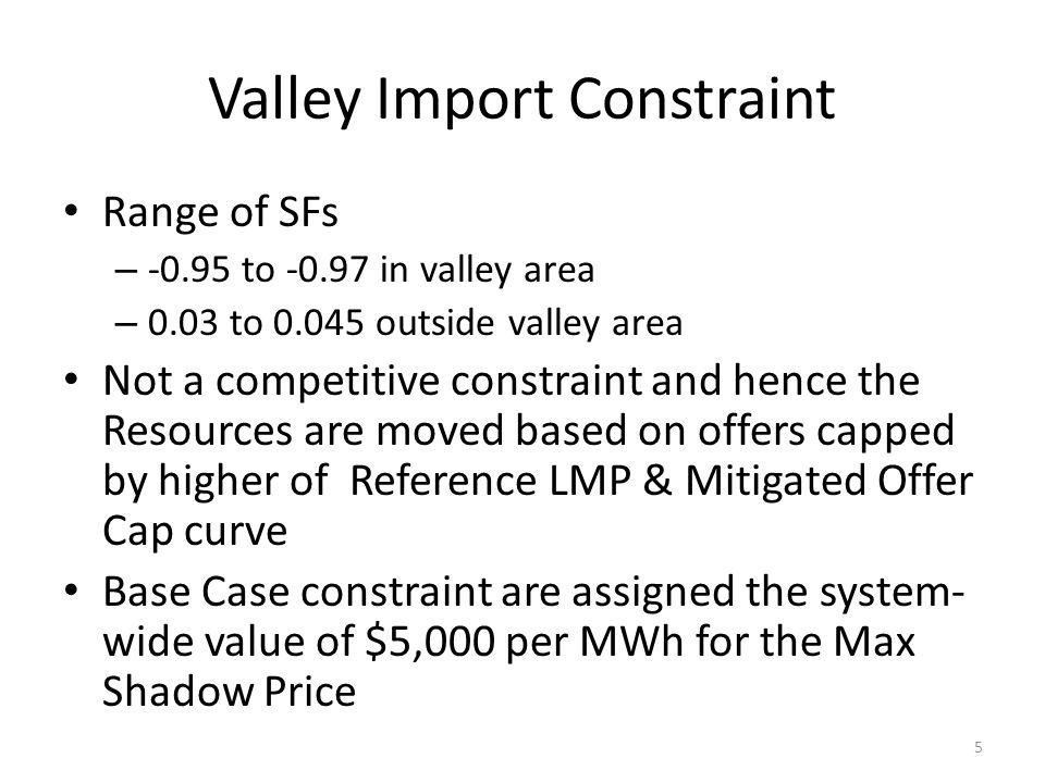 Valley Import Constraint Range of SFs – -0.95 to -0.97 in valley area – 0.03 to 0.045 outside valley area Not a competitive constraint and hence the R