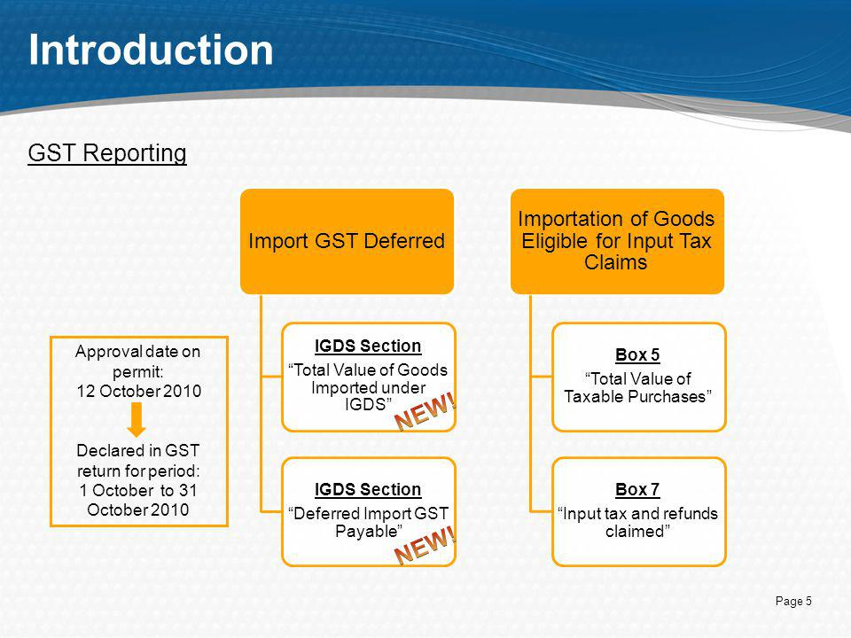 """Page 5 Introduction GST Reporting Import GST Deferred IGDS Section """"Total Value of Goods Imported under IGDS"""" IGDS Section """"Deferred Import GST Payabl"""