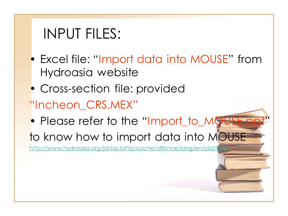 INPUT FILES: Excel file: Import data into MOUSE from Hydroasia website Cross-section file: provided Incheon_CRS.MEX Please refer to the Import_to_MOUSE.ppt to know how to import data into MOUSE http://www.hydroasia.org/jahia/Jahia/cache/offonce/lang/en/pid/9691