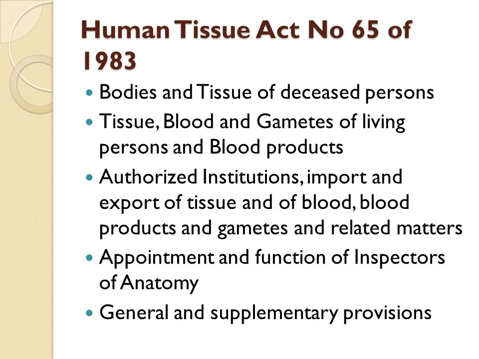 Human Tissue Act No 65 of 1983 Bodies and Tissue of deceased persons Tissue, Blood and Gametes of living persons and Blood products Authorized Institutions, import and export of tissue and of blood, blood products and gametes and related matters Appointment and function of Inspectors of Anatomy General and supplementary provisions