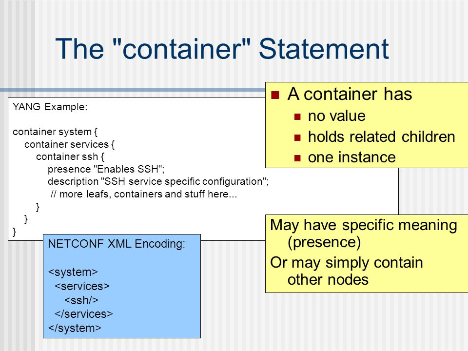 YANG Example: container system { container services { container ssh { presence Enables SSH ; description SSH service specific configuration ; // more leafs, containers and stuff here...