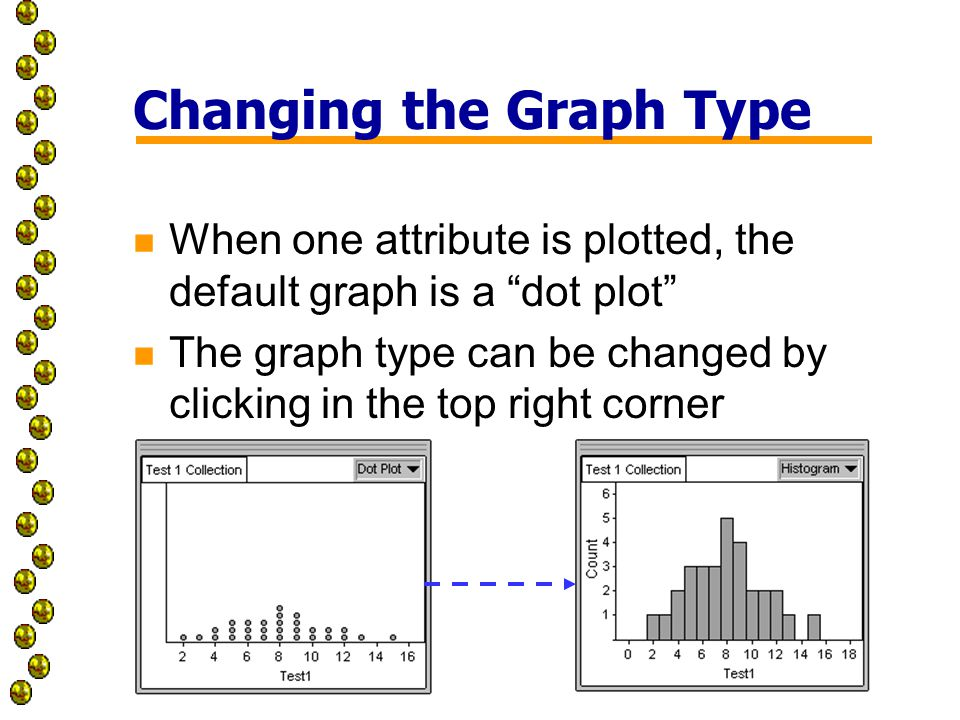 Changing the Graph Type n When one attribute is plotted, the default graph is a dot plot n The graph type can be changed by clicking in the top right corner