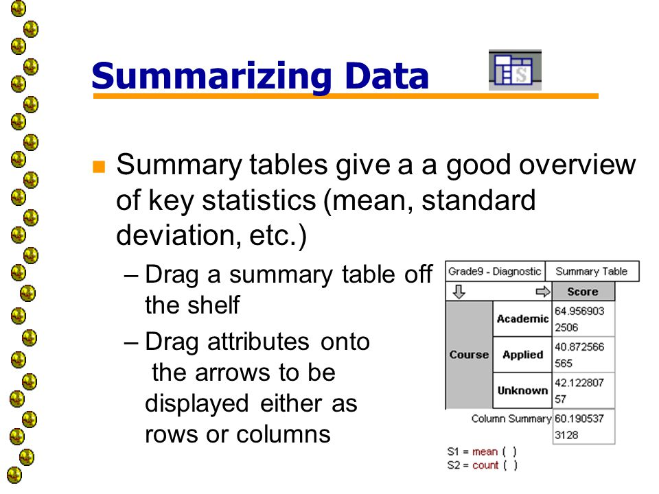 Summarizing Data n Summary tables give a a good overview of key statistics (mean, standard deviation, etc.) –Drag a summary table off the shelf –Drag attributes onto the arrows to be displayed either as rows or columns