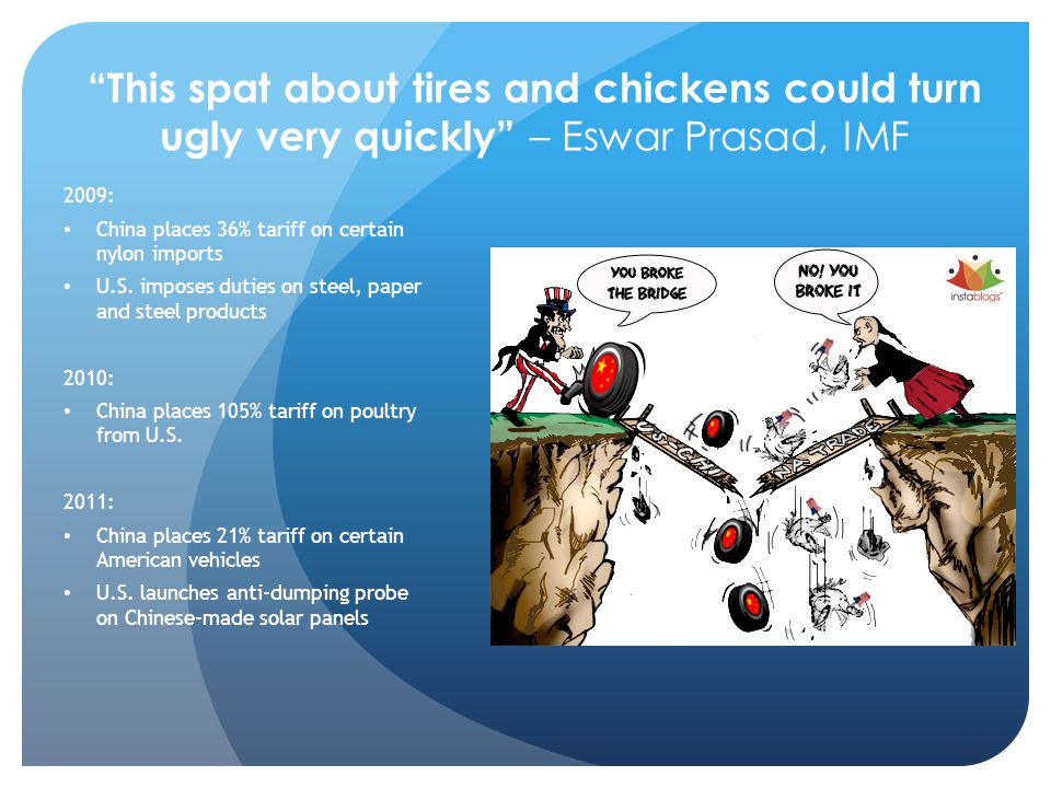 This spat about tires and chickens could turn ugly very quickly – Eswar Prasad, IMF 2009: China places 36% tariff on certain nylon imports U.S.