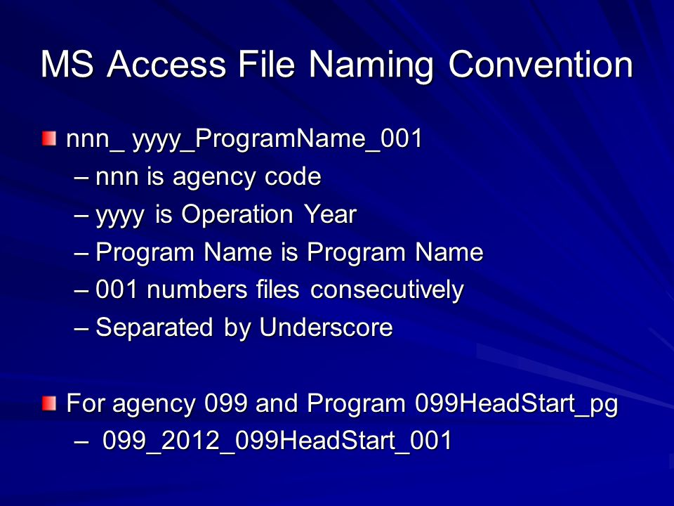 MS Access File Naming Convention nnn_ yyyy_ProgramName_001 –nnn is agency code –yyyy is Operation Year –Program Name is Program Name –001 numbers file