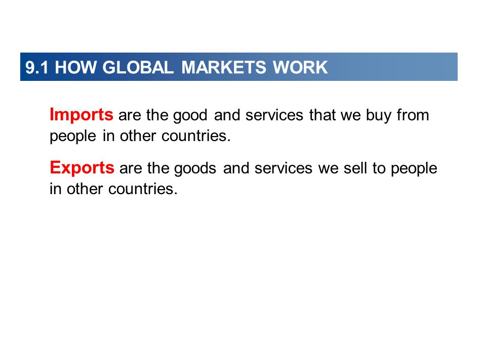 9.1 HOW GLOBAL MARKETS WORK  International Trade Today The United States is the world's biggest international trader and accounts for 10 percent of world exports and 15 percent of world imports.