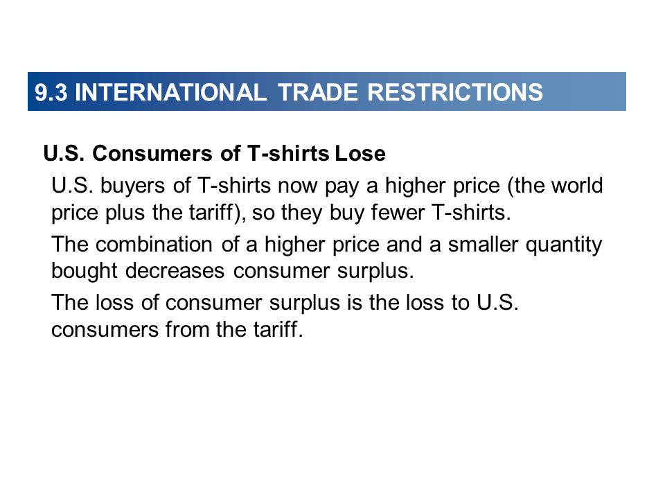 9.3 INTERNATIONAL TRADE RESTRICTIONS U.S. Consumers of T-shirts Lose U.S. buyers of T-shirts now pay a higher price (the world price plus the tariff),