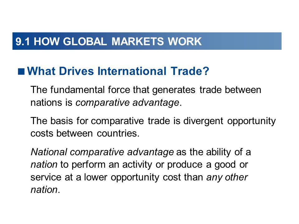 9.1 HOW GLOBAL MARKETS WORK With international trade, 6.