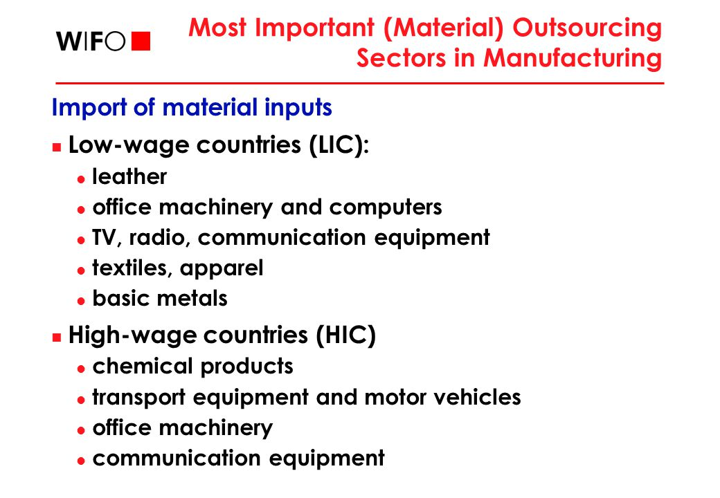 Most Important (Material) Outsourcing Sectors in Manufacturing Import of material inputs Low-wage countries (LIC): leather office machinery and comput