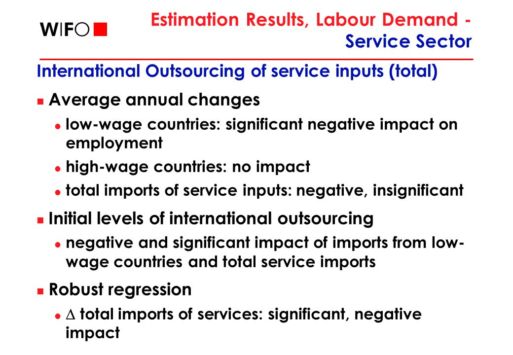 Estimation Results, Labour Demand - Service Sector International Outsourcing of service inputs (total) Average annual changes low-wage countries: sign