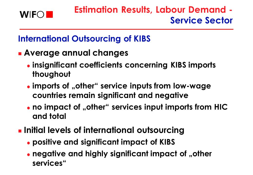 "Estimation Results, Labour Demand - Service Sector International Outsourcing of KIBS Average annual changes insignificant coefficients concerning KIBS imports thoughout imports of ""other service inputs from low-wage countries remain significant and negative no impact of ""other services input imports from HIC and total Initial levels of international outsourcing positive and significant impact of KIBS negative and highly significant impact of ""other services"