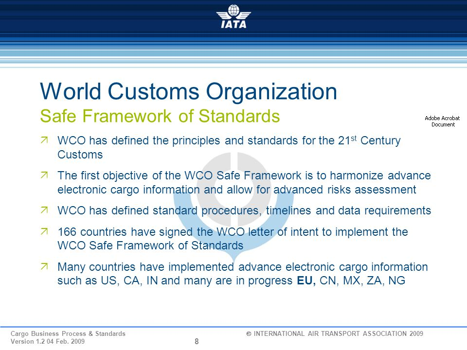19 Cargo Business Process & Standards  INTERNATIONAL AIR TRANSPORT ASSOCIATION 2009 Version 1.2 04 Feb.