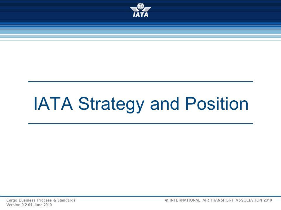 30 Cargo Business Process & Standards  INTERNATIONAL AIR TRANSPORT ASSOCIATION 2009 Version 1.2 04 Feb.