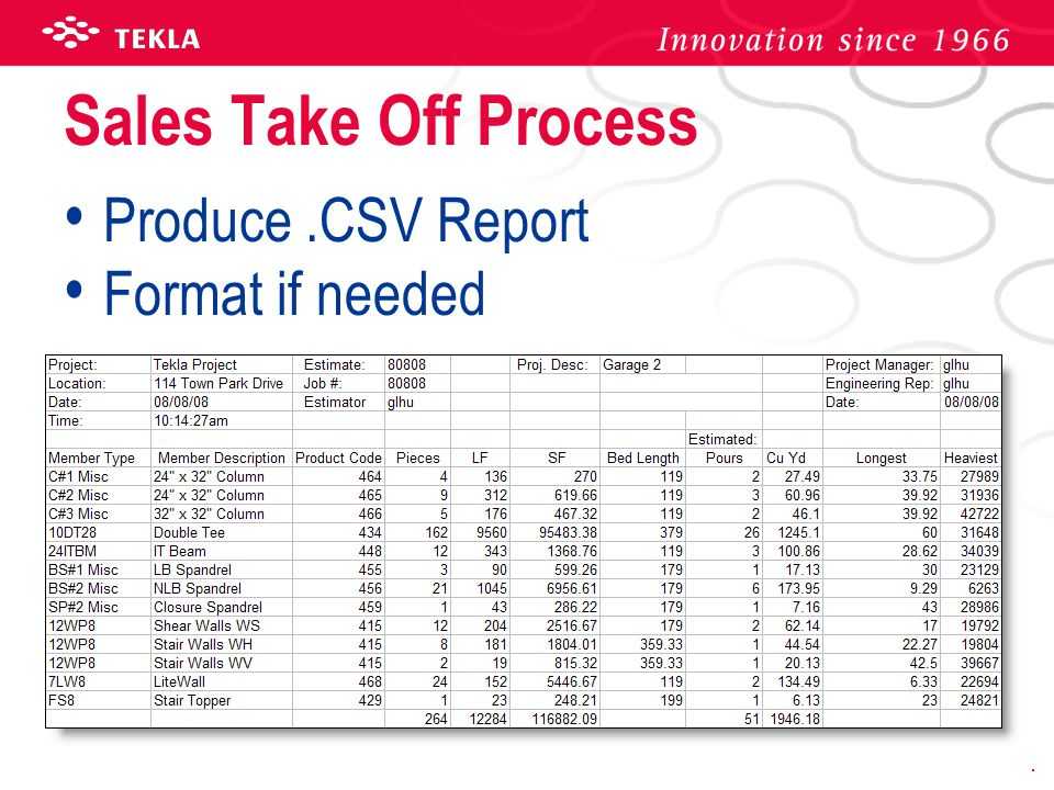 Sales Take Off Process Produce.CSV Report Format if needed