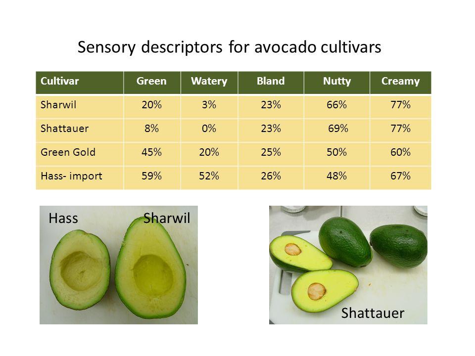 Sensory descriptors for avocado cultivars CultivarGreenWateryBlandNuttyCreamy Sharwil20%3%23%66%77% Shattauer8%0%23% 69%77% Green Gold45%20%25%50%60% Hass- import59%52%26%48%67% Shattauer HassSharwil
