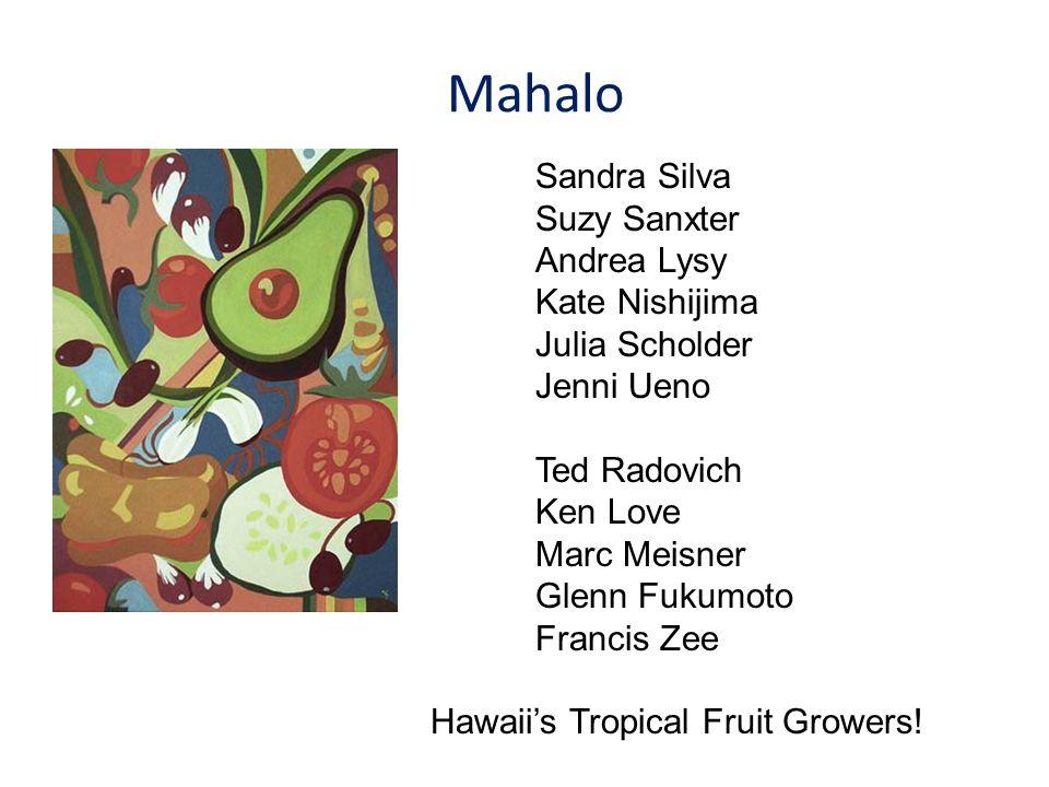 Mahalo Sandra Silva Suzy Sanxter Andrea Lysy Kate Nishijima Julia Scholder Jenni Ueno Ted Radovich Ken Love Marc Meisner Glenn Fukumoto Francis Zee Hawaii's Tropical Fruit Growers!