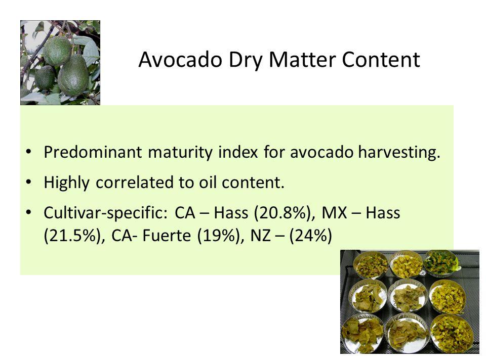 Predominant maturity index for avocado harvesting.