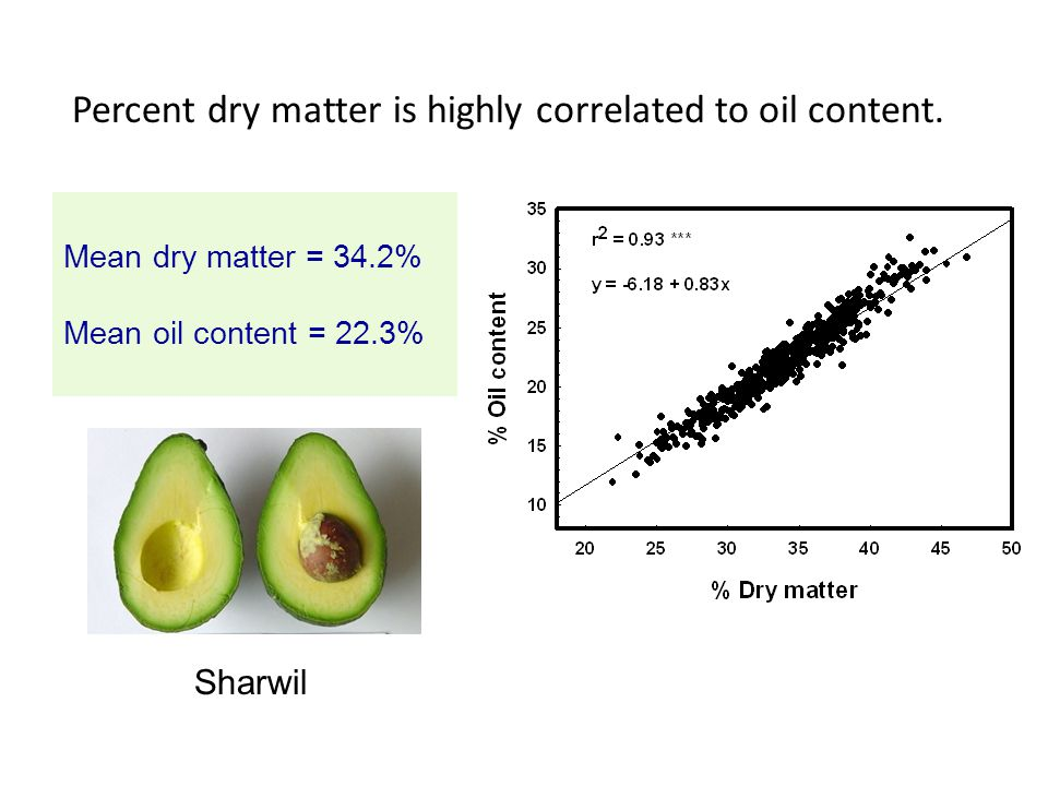 Percent dry matter is highly correlated to oil content.