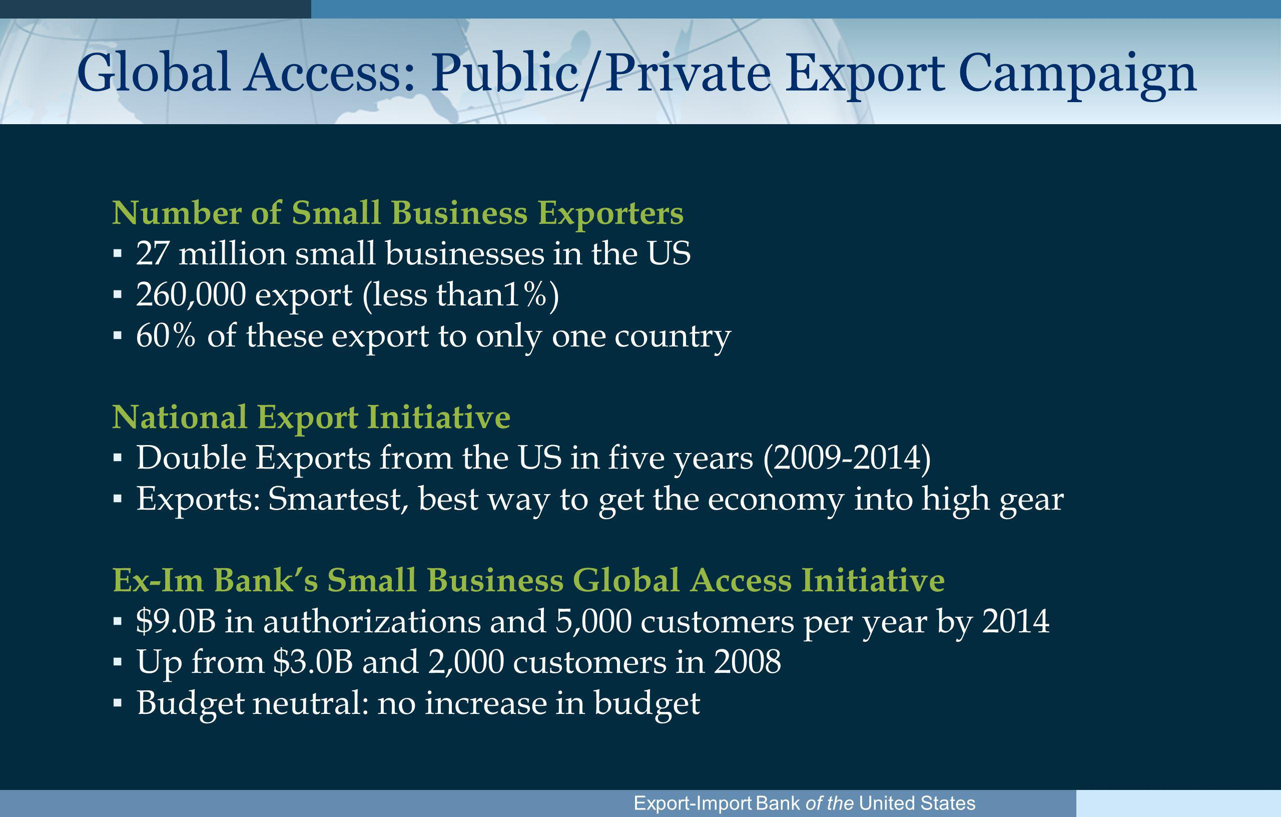 Export-Import Bank of the United States Global Access: Public/Private Export Campaign Number of Small Business Exporters ▪ 27 million small businesses in the US ▪ 260,000 export (less than1%) ▪ 60% of these export to only one country National Export Initiative ▪ Double Exports from the US in five years ( ) ▪ Exports: Smartest, best way to get the economy into high gear Ex-Im Bank's Small Business Global Access Initiative ▪ $9.0B in authorizations and 5,000 customers per year by 2014 ▪ Up from $3.0B and 2,000 customers in 2008 ▪ Budget neutral: no increase in budget