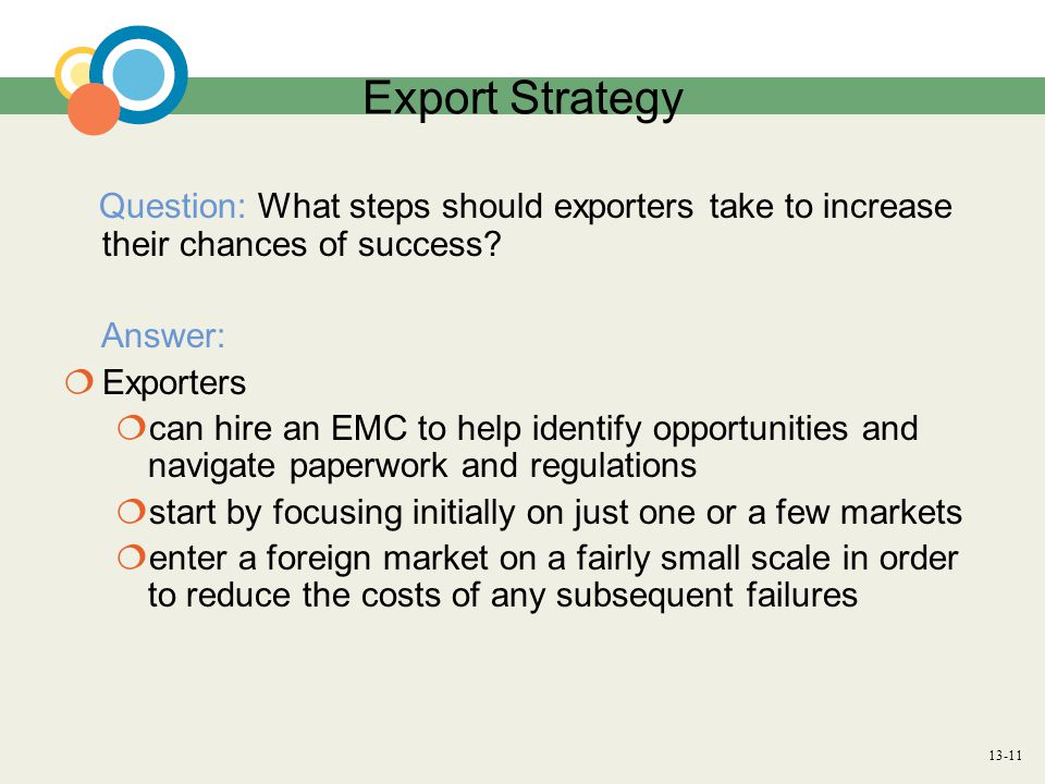 13-11 Export Strategy Question: What steps should exporters take to increase their chances of success.