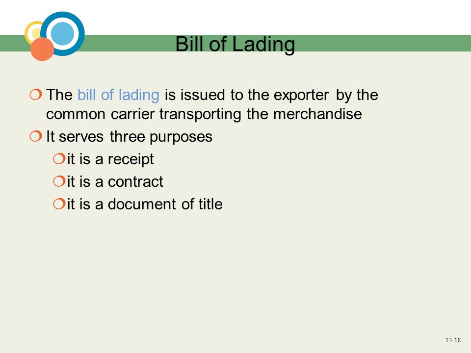 13-18 Bill of Lading  The bill of lading is issued to the exporter by the common carrier transporting the merchandise  It serves three purposes  it is a receipt  it is a contract  it is a document of title