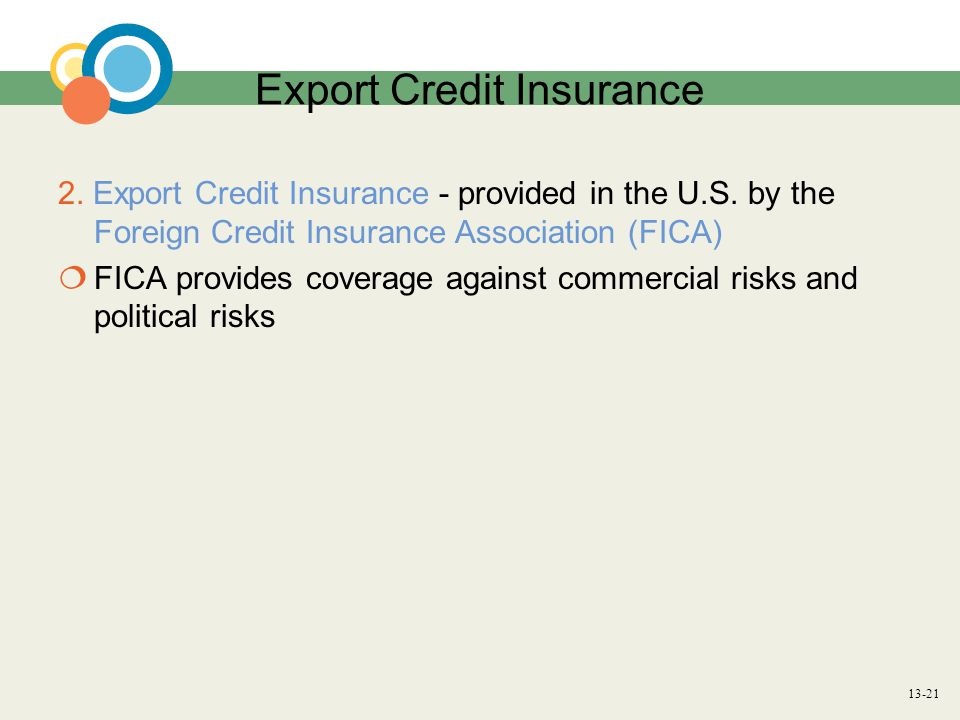 13-21 Export Credit Insurance 2. Export Credit Insurance - provided in the U.S.