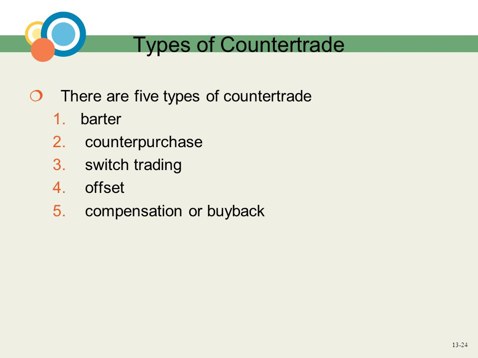 13-24 Types of Countertrade  There are five types of countertrade 1.barter 2.