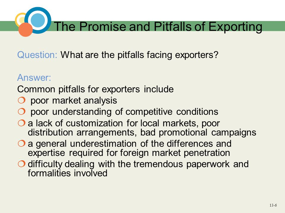 13-6 The Promise and Pitfalls of Exporting Question: What are the pitfalls facing exporters? Answer: Common pitfalls for exporters include  poor mark