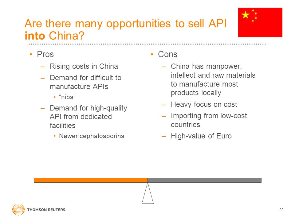 23 Are there many opportunities to sell API into China.
