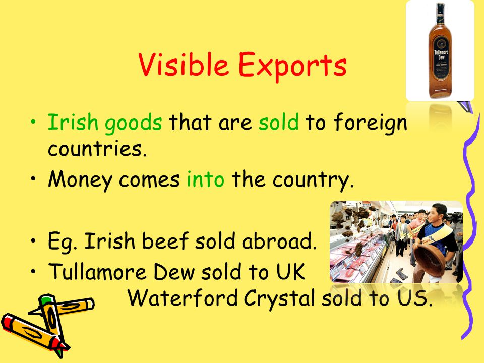 Visible Exports Irish goods that are sold to foreign countries.