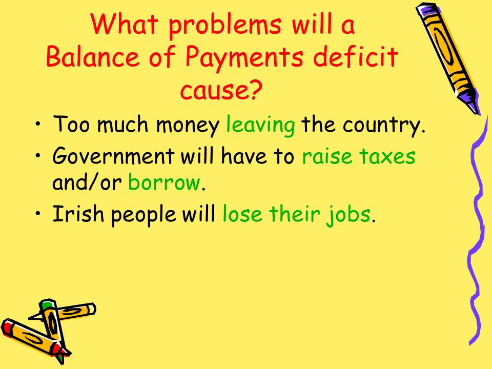 What problems will a Balance of Payments deficit cause.