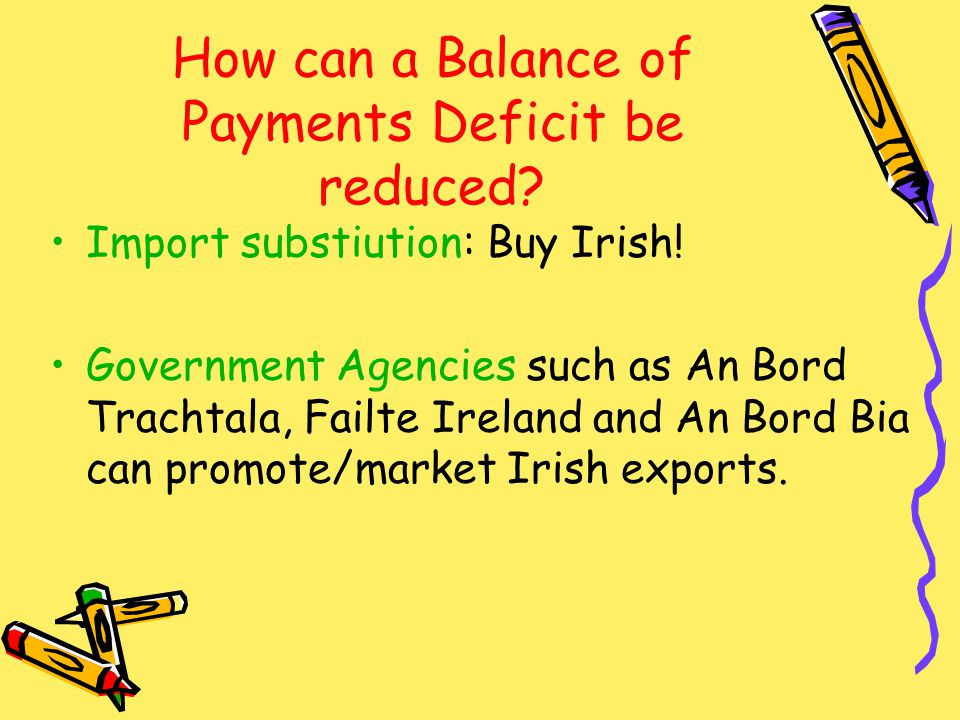How can a Balance of Payments Deficit be reduced. Import substiution: Buy Irish.